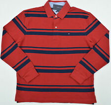 NWT Men's Tommy Hilfiger Long-Sleeve Rugby Polo Shirt Classic Red Navy Small S