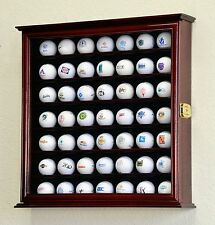 PGA 49 Golf Ball Display Case Cabinet Wall Rack Holder w/98% UV - Lockable