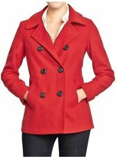 NWT OLD NAVY WOMENS ST S TALL CLASSIC WOOL BLEND PEACOAT COAT JACKET ROBBIE RED