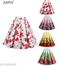 Womens Summer Short Skirt Dress Ladies Floral High Waist Skater Pleated Skirts
