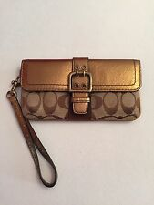 Coach Signature Wristlet - Bronze And Brown