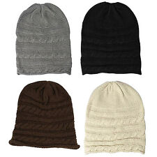 New Fashion Unisex Oversized Cable Knit Baggy Beanie Slouch Hat Cap Warm W P9G5