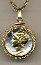 Mercury Dime (minted 1916-1945) Handmade Silver & 24k Gold Plated Coin Necklace