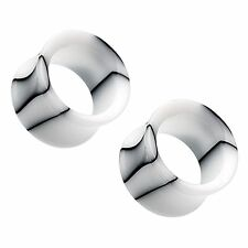"""White Marble Swirl Acrylic Double Flared Tunnel Plugs 10G - 1"""" - Pair"""