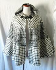 NEW Tribal AZTEC White & Gray HOODED GYPSY FESTIVAL HIPPIE Poncho TOGGLE CAPE