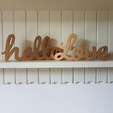 LOVE OR HELLO GOLD WOODEN CHIC N SHABBY FREE STANDING WORD PLAQUE