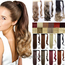 Ombre Wrap Around Ponytail Clip In Hair Extensions Long Straight For Human P27
