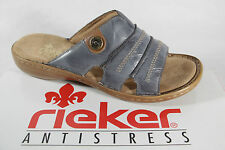 Rieker Ladies Mules Mules Leather, blue, soft inner sole NEW
