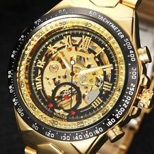 Watch Men Winner Automatic Mechanical Mens Skeleton Gold Wrist Steel Stainless