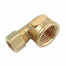 "Brass Compression Fitting. 90° Female Elbow. 3/8"" Tube x 3/8"" Pipe."