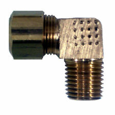 "Brass Compression Fitting. 90° Male Elbow. 3/8"" Tube x 1/2"" Pipe."