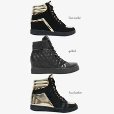 Womens Chunky Platform Metallic Zip Up Creeper Trainers Sneakers Shoes Size 3-8