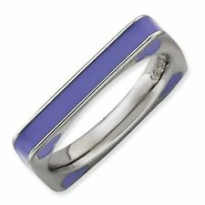 Purple Hearts Enamel Square Band Sterling Silver Stackable Ring
