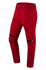NEW Men Biker Denim Red Jeans Ripped Distressed Jeans Double Needle Zippers Knee