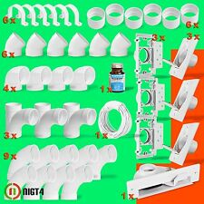 New Central Vacuum White 3-Inlet Installation Kit and White Vacpan