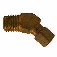 "Brass Compression Fitting. 45° Male Elbow. 3/8"" Tube x 1/2"" Pipe."