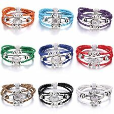 Women Fashion Multi-layer Beads Magnetic Buckle Braided Bracelet Jewelry Gift
