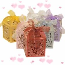 10pcs Heart Favour Box Laser Cut Wedding Sweets Favor Candy Gifts Boxes Box FINE