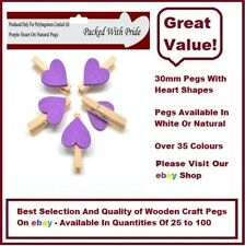 NATURAL PEGS WITH PURPLE HEARTS - 30mm Small Wooden Craft Pegs - Wedding