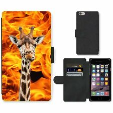 Phone Card Slot PU Leather Wallet Case For Apple iPhone giraffe blaze