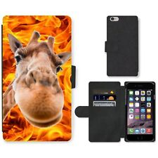 Phone Card Slot PU Leather Wallet Case For Apple iPhone funny giraffe blaze