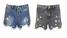 Ladies Shorts Denim Hotpants Eyelet Womens Raw Hem Distressed Ripped Jeans