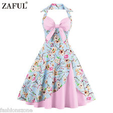 ZAFUL 50s Vintage Rockabilly Pinup Hepburn Halter Swing Evening Party Dress