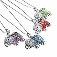 Fashion Crystal Elephant Charm Pendant Chain Necklace Women Jewellery Party Gift