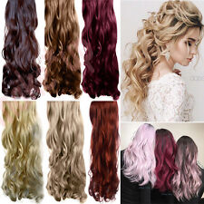 100% Natural Real Clip In Hair Extensions Long Straight Curly As Human Half Head