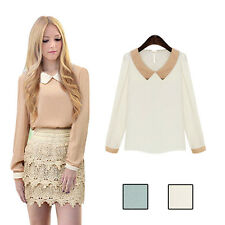 Women Doll Collar Fashion Chiffon Casual Sweet Hot Long Sleeve Blouse