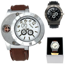 Men Watch USB Cigarette Rechargeable Windproof Flameless Lighter Military Watch