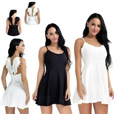 Womens Plunge V-Neck Angel Wings Backless Skater Evening Party Gallus Mini Dress