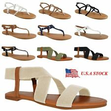 Women Gladiator Sandals Shoes Thong Summer Flat Size Strappy Flip Flops Toe New
