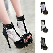 Women Platforms Stiletto Buckle Open Toe Shoes High Heels Party Prom Sandals New