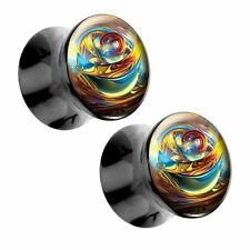 Yellow Marble Acrylic Picture Plugs Pair - Choose Size
