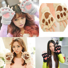 2017 Warm Girls Bear's Paw Mitten Furry Fuzzy Thicking Half Finger Gloves Mitts
