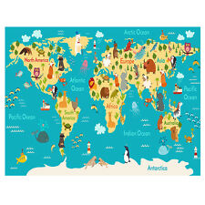 Kids Educational Animal/Famous Building World Map Educational Poster 24x32""