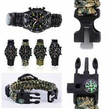 5in1 Watch Survival Flint Fire Starter Paracord Compass Whistle Rope Camping New