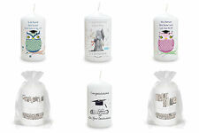 PERSONALISED GRADUATION CANDLE PASSING EXAM CONGRATULATIONS CAP SCROLL OWL GIFT