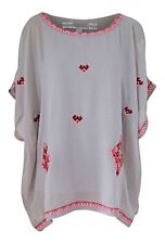 NEXT Grey Red Aztec Embroidered Summer Tunic Kaftan Beach Cover Ladies NEW