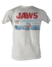 Jaws Mens T-Shirt White New Licensed Jaws Island Official 100% Cotton SM - 2XL
