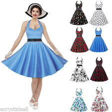 Women 1950's Vintage Hepburn Halter V Neck Dance Rockabilly Party Swing Dress