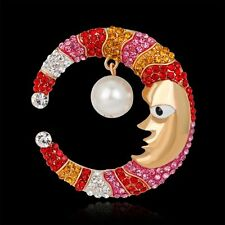 Lovely Creative Crystal Rhinestone Pearl Moon Brooch Pin Bouquet Wedding Jewelry