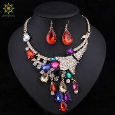 Women Wedding Necklaces Earrings Sets Rhinestone Crystal Choker Necklaces Sets
