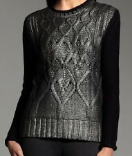Narciso Rodriguez for DesigNation Black Foil Gunmetal Cable-Knit Sweater