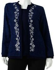 Cathy Daniels Womens L Large Floral Boucle Mock Layer Sweater Top Navy Blue