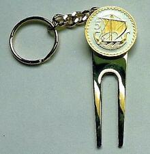 Key Chain 24 k Gold on Silver Cyprus 5 mils (4 in 1) Ball Marker/Divot