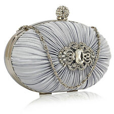 Stunning Silver Crystal Diamante Beaded Clutch Bag Wedding Evening Handbag Purse