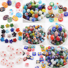 20/50Pcs Multi-Color Loose Spacer Beads Mixed Shape Millefiori Glass Craft Beads