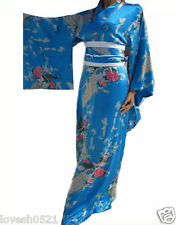 Vintage Yukata Peacock Japanese Kimono Haori Costume Dress Obi Women Robes Gown